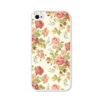 Peach Floral Rose iPhone Case - iPhone 4 Case - iPhone 4 Cover - iPhone 4 Skin - Coral Pink Pastel Flowers iPhone 4 Case