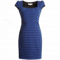 Bqueen Knit Striped Dress Blue FK006L - Celebrity Dresses - Apparel