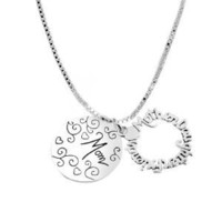 "Sterling Silver ""Mother Daughter Friend Mom"" Two Charm Necklace, 18"": Jewelry"