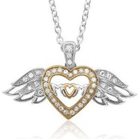 Sterling Silver Heart Love Angel Wing Mothers Day Diamond Pendant Necklace (GH, I1-I2, 0.16 carat): Diamond Delight: Jewelry