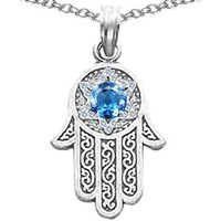 CandyGem 925 Sterling Silver Kabbalah Good Luck Hamsa Hand Pendant by Devorah with Created Blue Topaz FREE GIFT PACKAGING: Jewelry