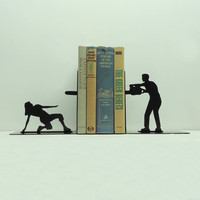Chainsaw Attack Bookends Free USA Shipping by KnobCreekMetalArts