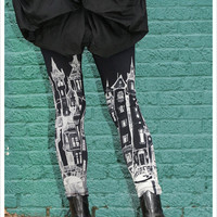 Black City Leggings - Womens Black legwear - Legging tights - SMALL Legwear