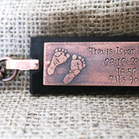 New Baby Keychain Name, Date of Birth, Weight - Copper Etched Leather Keyring