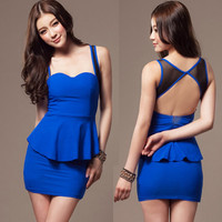 Sexy Nifty Womens Mini Dress Peplum Backless Splicing See-through Tulle