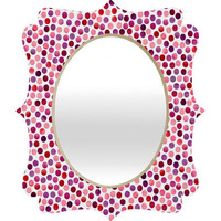 DENY Designs Home Accessories | Garima Dhawan Watercolor Dots Berry Quatrefoil Mirror