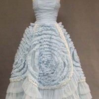 FABULOUS Swirled Blue &amp; White 1960&#x27;s Ball Gown VINTAGEOUS VINTAGE CLOTHING