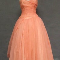 Floating Salmon Chiffon Vintage Ball Gown w/ Unique Drape VINTAGEOUS VINTAGE CLOTHING