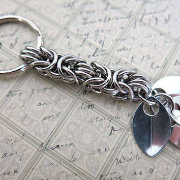 Stainless Steel Unique Keychain  Byzantine Scale by AlycenMaille