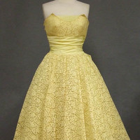 Buttery Yellow Lace Strapless 1950&#x27;s Prom Dress &amp; Bolero VINTAGEOUS VINTAGE CLOTHING
