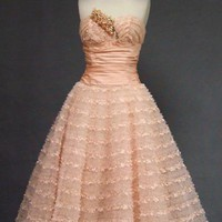 Emma Domb Pink Lace, Taffeta &amp; Tulle Strapless 1950&#x27;s Prom Dress VINTAGEOUS VINTAGE CLOTHING