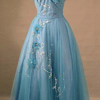 OUTSTANDING Teal Tulle 1950&#x27;s Prom Gown w/ FABULOUS Bead &amp; Sequin Appliques VINTAGEOUS VINTAGE CLOTHING