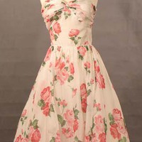 Pink & White Rose Print Voile Strapless 1950's Cocktail Dress VINTAGEOUS VINTAGE CLOTHING