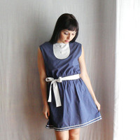 Blue and white bib dress with belt  vintage by AliceCloset on Etsy