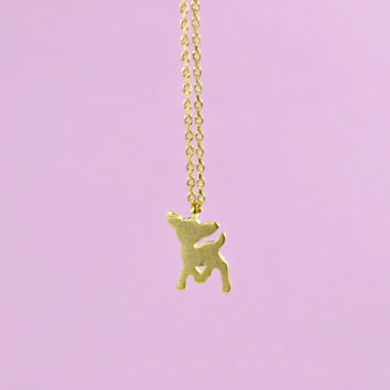 Adorable Deer Necklace, Gold Plated Brass Pendant, Delicate Chain, Everyday Wear, Perfect Gift, also in Rhodium Plated