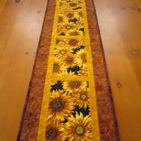 Quilted Table Runner Sunflowers