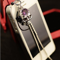 1PC Bling Crystal High Quality Skull w/Chain Earphone Charm Cap Anti Dust Plug for iPhone 5, iPhone 4, Samsung S3, Nokia