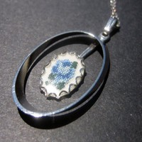 Vintage Petit Point Pointe Necklace, Blue Flower, Silver tone, pendant