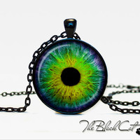 Eye pendant Eye necklace Eye jewelry green colorful (PE0006)