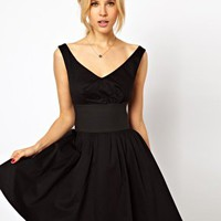 ASOS Skater Dress With Off Shoulder And Deep Waistband at asos.com