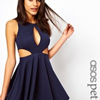 ASOS PETITE Exclusive Ponte Skater Dress With Large Keyhole Front & Cut Out Side at asos.com