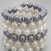 Blue Velvet Vintage - Accessories - Costume Jewelry - Gray and White Pearl Bead Cuff Bracelet