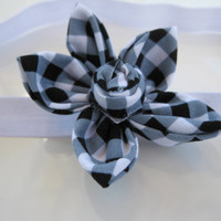 Black & White Gingham Flower Headband - Satin Elastic Headband - Baby Girl,Toddler, Girl