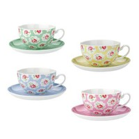 Cath Kidston - Set of 4 Provence Rose Cups and Saucers