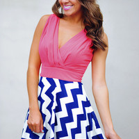 RESTOCK The Sarah Belle Dress: Coral/Navy | Hope&#x27;s
