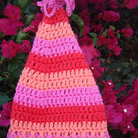 Baby Crochet Cotton Cone Hat with Tassel - Gnome Hat -  Photo Prop