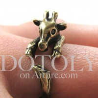 Miniature Baby Giraffe Ring in Bronze Sizes 5 to 9 available | dotoly - Jewelry on ArtFire