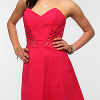 Urban Outfitters - Sparkle &amp; Fade Lattice Waist Strapless Dress