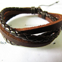 Adjustable Brown Leather Woven Men or Women by braceletcool