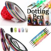 350buy 5 X 2 Way Marbleizing Dotting Pen Set for Nail Art Manicure Pedicure+10 Color Rolls Nail Art Decoration Striping Tape:Amazon:Beauty