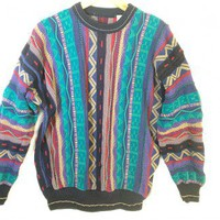 Teal &amp; Purple Textured Cosby Style Tacky Ugly Sweater Men&#x27;s Size Large (L) $12 - The Ugly Sweater Shop