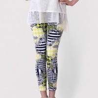 Baroque Print Legging in Yellow