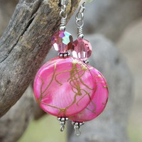 Hot Pink Mother of Pearl Handmade Earrings Swarovski Gold Unique OOAK