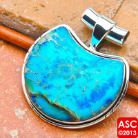 TURQUOISE 925 STERLING SILVER PENDANT 1 1/2&quot; JEWELRY