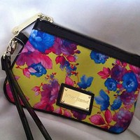 BNWOT Betsey Johnson Yellow Floral Wristlet Clutch Handbag