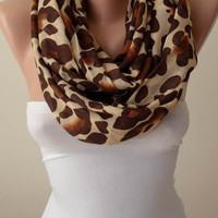 Mother's Day Gift Scarf- Beige - Caramel and Brown Leopard  Infinity Scarf - Soft Cotton Fabric