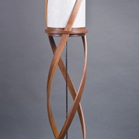 The Tango Floor Lamp Bent Laminated Walnut & White by Castlewerks