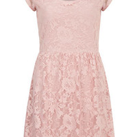 Blush short sleeve lace dress