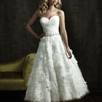2012 Allure Bridal - White &amp; Silver Pleated Organza &amp; Tulle Rose Tea Length Wedding Gown - 2 to 32 - Unique Vintage - Prom dresses, retro dresses, retro swimsuits.