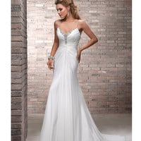Maggie Sottero Spring 2013 - Aliyah Ivory Paris Chiffon &amp; Swarovski Crystal Wedding Gown - Unique Vintage - Prom dresses, retro dresses, retro swimsuits.