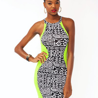 tribal-contrast-dress NCORALBLK NYELLOWBLK - GoJane.com