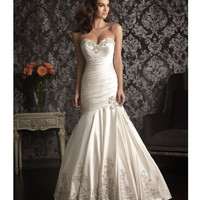 2013 Allure Bridal - Ivory &amp; Silver Satin-Back Taffeta Wedding Dress - Unique Vintage - Prom dresses, retro dresses, retro swimsuits.