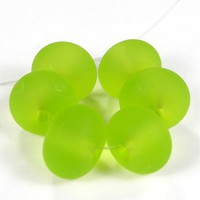 Frosted Beads Handmade Lampwork Beads Etched Glass Light Grass Green