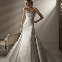 2012 Maggie Sottero Bridal - Alabaster Satin Beaded Trim Strapless Fitted Brooke Wedding Gown - 0 - 28 - Unique Vintage - Prom dresses, retro dresses, retro swimsuits.