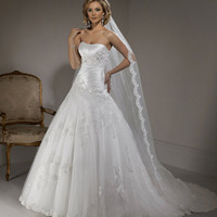 2012 Maggie Sottero Bridal - Alabaster Satin Ruched Strapless Pick Up Nicolette Wedding Gown - 0 - 28 - Unique Vintage - Prom dresses, retro dresses, retro swimsuits.