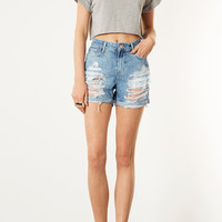 MOTO Ripped Denim Boy Shorts - Topshop